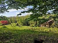 Zahrada - pohled od lesa - chata k pronajmutí Přední Výtoň