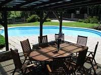 Pohled na bazén ze zastřešené terasy