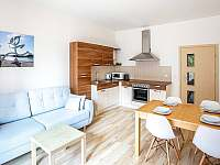 Kuchyň s obývákem - apartmán k pronájmu Lipno nad Vltavou