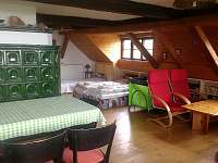 větší pokoj s kuchyňkou a sociálním zařízením - apartmán k pronájmu Horní Němčice u Strážova