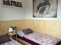 Ložnice přízemí: Fialová - pronájem rekreačního domu Horní Planá