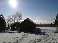 pohled od chaty v zimě