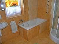 Koupelna s vanou a sprchovým koutem - chalupa ubytování Lenora - Zátoň
