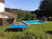 Pohled z terasy přes dvůr s bazénem do údolí - pronájem chalupy Rohanov
