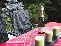 venkovní stůl - chata k pronájmu Strakov