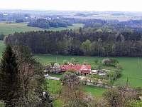 Pohled z rozhledny Borůvka - chalupa ubytování Hněvětice