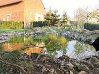Zahrada s velkým a malým jezírkem s rybami. - rekreační dům k pronájmu Říkovice