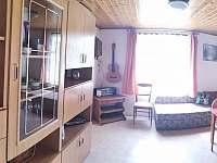 obývací pokoj s rozkládacím dvoulůžkem - pronájem chaty Skořenice - Vrchovina