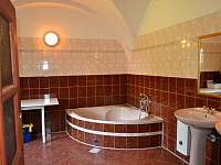 Koupelna s vanou, WC, 2 umyvadly a pračkou v přízemí - chalupa k pronájmu Vižňov