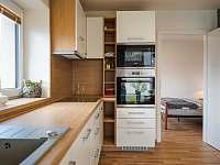 Kuchyňská linka a vstup do ložnice - apartmán k pronajmutí Hradec Králové