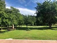 Pohled z terasy na zahradu - apartmán k pronájmu Vyžice - Slavkovice