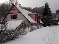 Zimní pohled - chalupa k pronajmutí Chlívce