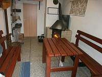 místnost s krbem - rekreační dům k pronajmutí Škrdlovice