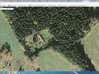 ptačí pohled-chaloupka v lese - chata k pronájmu Větrný Jeníkov