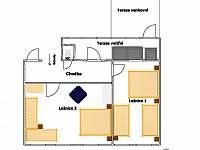 půdorys 1.patro - pronájem rekreačního domu Telč