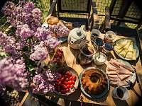 Treehouse Stvořidla - snídaně v košíku - srub k pronájmu Leštinka