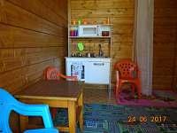 Dětská kuchynka v dětském domečku.