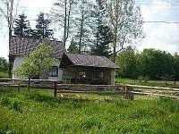 Fotografováno směrem od rybníka - chata ubytování Boršov