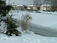Rybník v zimě, dá se tu bruslit