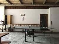 Pingpongový stůl v zastřešeném průjezdu. - pronájem chalupy Dudín