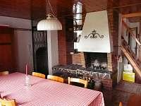 obývací pokoj s krbem a krbovými kamny