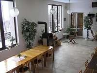 Společenská místnost-pohled na krbová kamna a okna