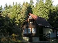 Chata v lesním zákoutí u rybníka (ten je však z druhé straby - před chatou)