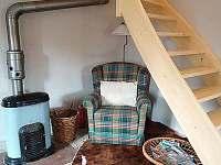 Koutek v obývacím pokoji, kamna