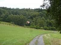 Umístění chaty na okraji lesa.Pohled od vesnice.