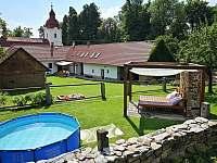 Pohled od bazénu k chalupě - ubytování Krasonice