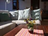 Pohovka pod pergolou se dá rozložit akrásně se tu spí, po obědě i v noci - chalupa ubytování Krasonice