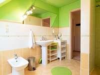 Koupelna- umyvadlo, bidet, sprcha. - apartmán k pronájmu Holetín u Hlinska