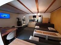 Ap.č.1.Společenská místnost, televize 134cm,kuch.linka, krb,2 sedačky,stůl židle - chalupa k pronájmu Maksičky