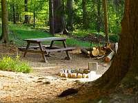 Venkovní posezení - chata ubytování Kouty u Ledče nad Sázavou
