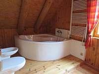 koupelna v patře - srub k pronájmu Polesí