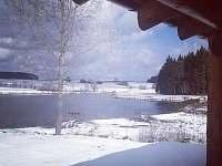 Zimní pohádková krajina z terasy.