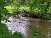 Řeka Oslava u chaty - ubytování Kamenná