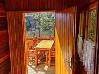 pohled na terasu - chata ubytování Pňovany - Valečkův Mlýn