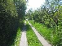 Příjezdová cesta na parkoviště u chaty