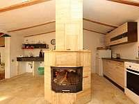 obývací pokoj s kuchyňským koutem - chata k pronájmu Těchoděly