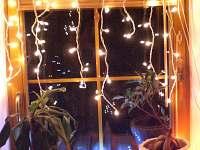 Zimní osvětlení obývák - chalupa k pronájmu Krajková