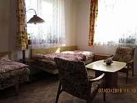 Ložnice se samostatnými postelemi - chalupa k pronajmutí Bystřice
